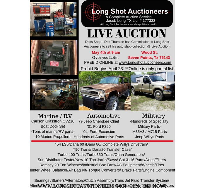 Auction M35A3 / M715, Jeep Willys Parts, and much more
