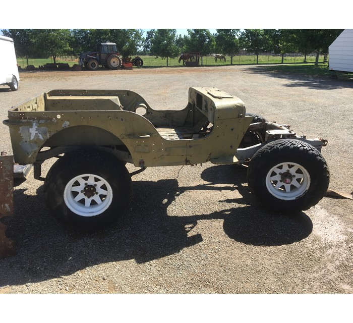 Original 1951 M-38 body tub, hood and transmission plates
